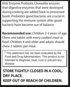 Kids' Enzyme Probiotic - Recommended Usee