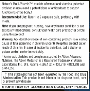Nature's Multi-Vitamin - Recommended Use